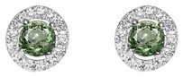 LoveBrightJewelry Round Green Amethyst and CZ Push Back Silver Earrings