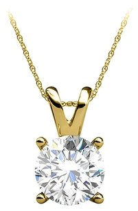 LoveBrightJewelry Round Prong Set Natural Diamond Pendant 14K Yellow Gold