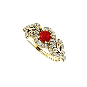 LoveBrightJewelry Ruby And Cz Crossover Halo Ring 18k Yellow Gold Vermeil