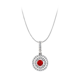 LoveBrightJewelry Ruby and CZ Double Halo Style Pendant in 14K White Gold