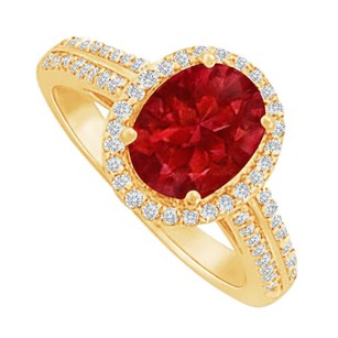 LoveBrightJewelry Ruby and CZ Halo Ring in 18K Yellow Gold Vermeil