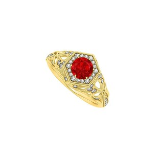 LoveBrightJewelry Ruby Diamonds Filigree Halo Engagement Ring 14k Gold