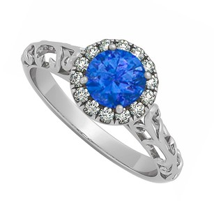 LoveBrightJewelry Sapphire And Cubic Zirconia Halo Filigree Engagement Ring In 925 Sterling Silver