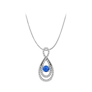 LoveBrightJewelry Sapphire and CZ Infinity Style Pendant in 925 Silver