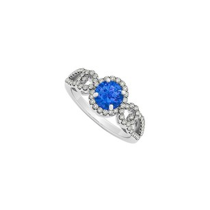 LoveBrightJewelry Sapphire And Diamonds Split Shank Halo Ring White Gold