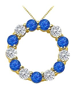 LoveBrightJewelry Sapphire Circle of Life Pendant with CZ in 18K Yellow Gold Vermeil