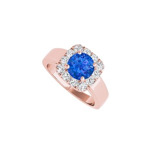 LoveBrightJewelry Sapphire Cz Halo Engagement Ring In Rose Gold Vermeil