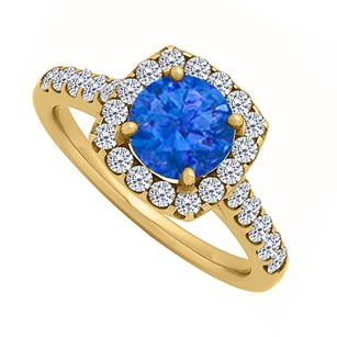 LoveBrightJewelry Sapphire Halo Engagement Ring With Cubic Zirconia In 18k Yellow Gold Vermeil