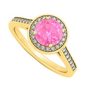 LoveBrightJewelry September Birthstone Created Pink Sapphire And Cubic Zirconia Halo Engagement Ring In Yellow Gol