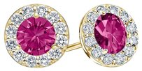 LoveBrightJewelry September Birthstone Created Pink Sapphire and CZ Halo Stud Earrings 18K Yellow Gold Vermeil