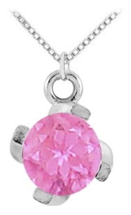 LoveBrightJewelry September Birthstone Created Pink Sapphire Pendant in 925 Sterling Silver 1.00 CT TGW