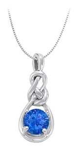 LoveBrightJewelry September Birthstone Created Sapphire Knot pendant in Sterling Silver with 1.00 CT TGW
