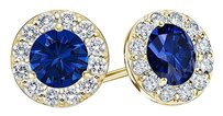 LoveBrightJewelry September Birthstone Sapphire and CZ Halo Stud Earrings 18K Yellow Gold Vermeil 1 CT TGW