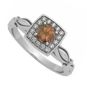 LoveBrightJewelry Smoky Quartz Cubic Zirconia Ring In 925 Sterling Silver