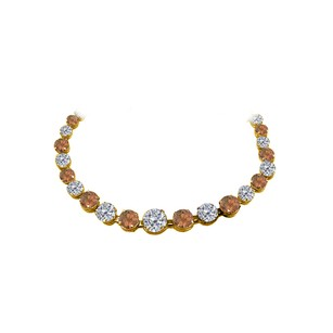 LoveBrightJewelry Smoky Quartz CZ Graduated Necklace in 14K Yellow Gold