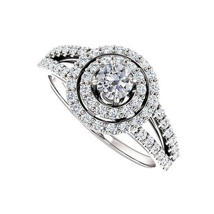 LoveBrightJewelry Split Shank Halo Engagement Rings With Cubic Zirconia In Sterling Silver 0.75 Ct Tgw
