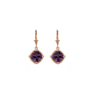 LoveBrightJewelry Square Amethyst Bezel Set CZ Earrings 14K Rose Gold