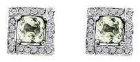 LoveBrightJewelry Square Design Green Amethyst Earrings with Sparkling CZ