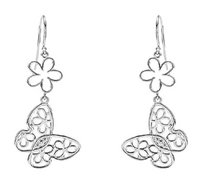 LoveBrightJewelry Sterling Silver Butterfly and Floral Design Earrings