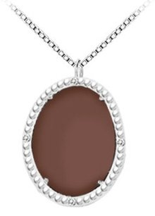 LoveBrightJewelry Sterling Silver Chocolate Chalcedony and Cubic Zirconia Pendant 15.08 CT TGW