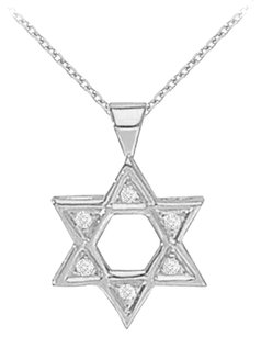 LoveBrightJewelry Sterling Silver Cubic Zirconia Star Pendant Necklace 0.05 CT TGW