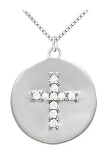 LoveBrightJewelry Sterling Silver Disc with Cubic Zirconia Cross Pendant Necklace