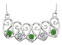 LoveBrightJewelry Sterling Silver Emeralds and Cubic Zirconia Mothers Necklace Mounting
