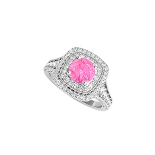 LoveBrightJewelry Sterling Silver Engagement Ring With Pink Sapphire Cz