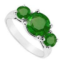 LoveBrightJewelry Sterling Silver Frosted Emerald Three Stone Ring 2.50 Carat Total Gem Weight