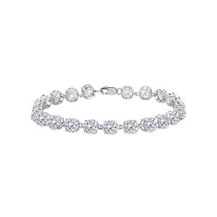 LoveBrightJewelry Sterling Silver Prong Set Round Cubic Zirconia Bracelet 12.00 Ct Tgwapril Birthstone