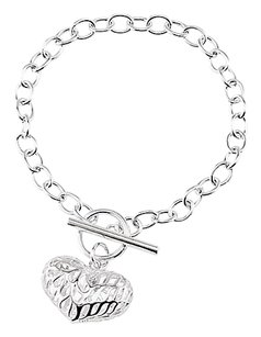LoveBrightJewelry Sterling Silver Puffed Cut-Out Heart 7.5 Inch Charm Bracelet Perfect Jewelry for all Occasions