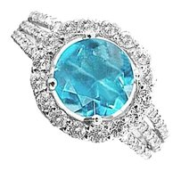 LoveBrightJewelry Swiss Blue Topaz and CZ Ring in 925 Sterling Silver