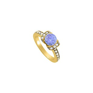 LoveBrightJewelry Tanzanite And Cubic Zirconia Engagement Ring In 18k Yellow Gold Vermeil Amazing Price Range