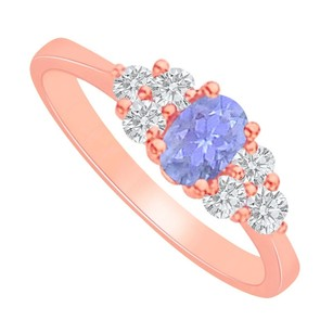LoveBrightJewelry Tanzanite And Cz Engagement Ring In Rose Gold Vermeil