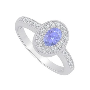 LoveBrightJewelry Tanzanite And Cz Halo Engagement Ring 1 Ct Tgw