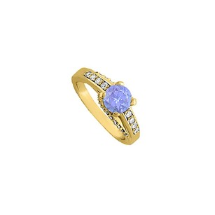 LoveBrightJewelry Tanzanite And Diamonds Engagement Ring 14k Yellow Gold