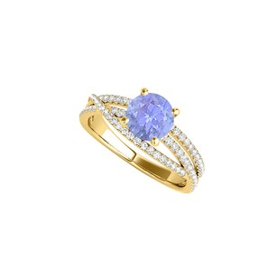 LoveBrightJewelry Tanzanite Cz Engagement Ring With Criss Cross Design