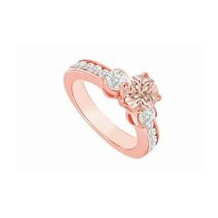 LoveBrightJewelry Three Stone At Center With Morganite And Bezel Set Czs In 14k Rose Gold Vermeil Engagement Ring