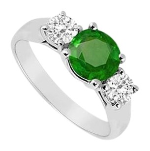 LoveBrightJewelry Three Stone Created Emerald and Cubic Zirconia Ring 925 Sterling Silver 0.75 CT TGW