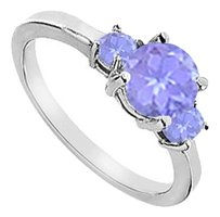 LoveBrightJewelry Three Stone Created Tanzanite Engagement Ring 925 Sterling Silver 1.25 CT TGW
