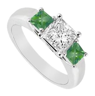 LoveBrightJewelry Three Stone Cubic Zirconia and Created Emerald Ring 925 Sterling Silver 0.50 CT TGW