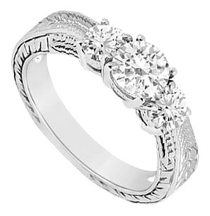 LoveBrightJewelry Three Stone Cubic Zirconia Ring 925 Sterling Silver 0.50 CT TGW