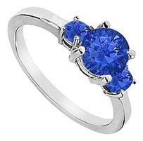 LoveBrightJewelry Three Stone Diffuse Sapphire Engagement Ring 925 Sterling Silver 1.25 CT TGW