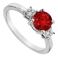 LoveBrightJewelry Three Stone GF Bangkok Ruby and Cubic Zirconia Engagement Ring 925 Sterling Silver 1.25 CT TGW
