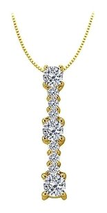 LoveBrightJewelry Three stone pendant with Cubic Zirconia in Yellow Gold Vermeil over Sterling Silver 1.00 CT TGW