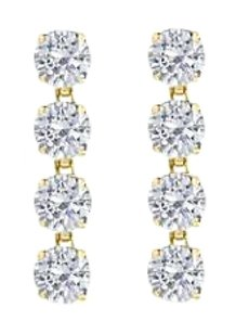 LoveBrightJewelry Triple AAA Quality Cubic Zirconia Drop Earrings in Sterling Silver 18K Yellow Vermeil 8 Carat