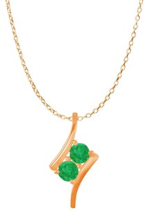 LoveBrightJewelry Two Stone Emerald Freeform Pendant Rose Gold Vermeil
