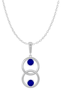 LoveBrightJewelry Two Stone Sapphire Double Circle Pendant 925 Silver