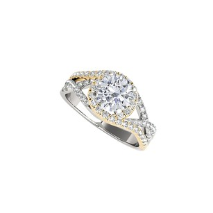 LoveBrightJewelry Two Tone Gold Engagement Ring With Cubic Zirconia