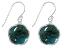 LoveBrightJewelry Unique Green Round Chrysocolla Bezel Set Earrings